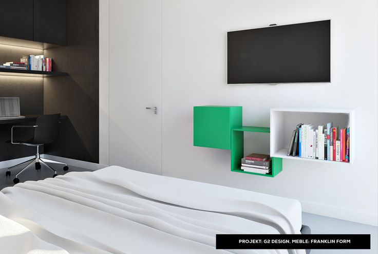 Great bedroom idea - white and green modular shelves