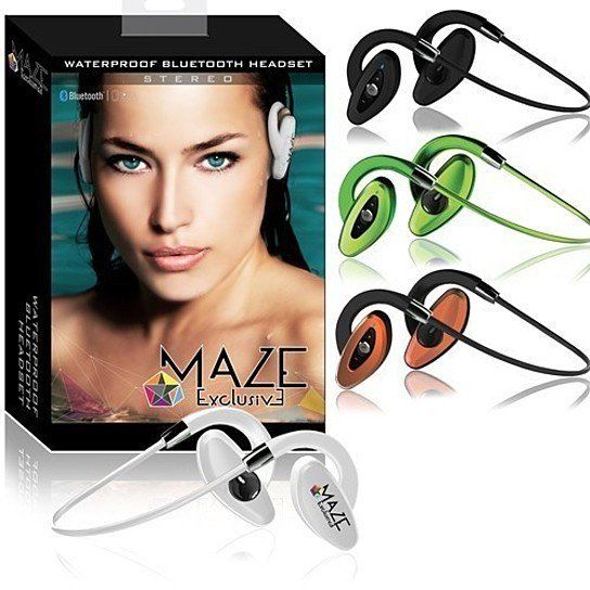 Get out and into the water using your Maze Exclusive Waterproof Headphones. These underwater earphones allow you to swim while listening to your favorite songs. They will work at depths up to 10 feet underwater. These waterproof ear buds are the perfect companion during long swims, snorkeling and even for the gym. They received an IPX6 rating. Great for use in the beach, pool, shower, and fit comfortable if you just want to run or go workout in the gym!Bluetooth allows you to keep your phone…