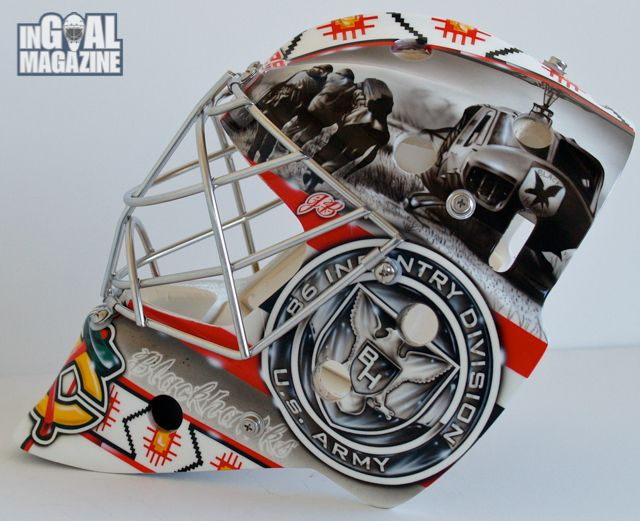 Blackhawks Military Roots on Prospect Kent Simpson's 2013 New Mask