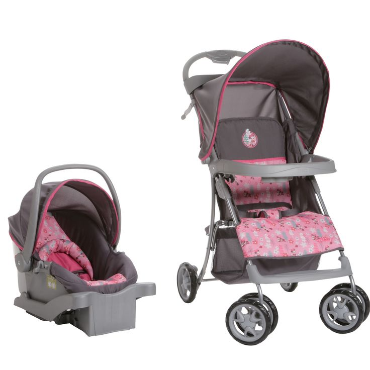 This Pink And Gray Travel System Features A Minnie Mouse