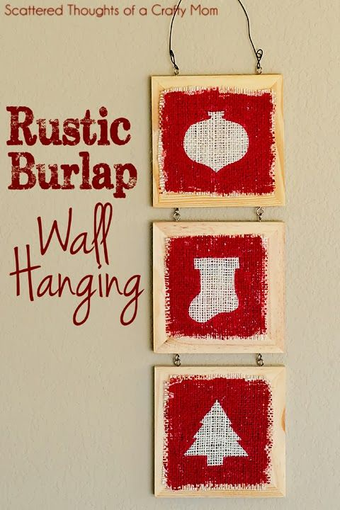 Scattered Thoughts of a Crafty Mom: Rustic Burlap Wall Hanging