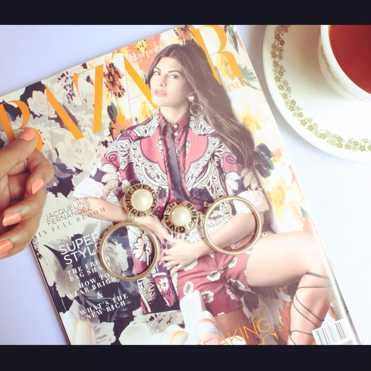 This just came in today making our evening cup of coffee even more delicious. Our vintage Givenchy hoops featured on Jacqueline Fernandez on the cover of Harper's Bazaar, April 2015 issue. Thank you @bazaarindia Love Love!