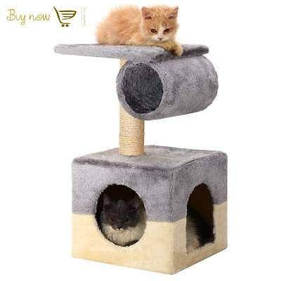 "22"" Cat Tree Deluxe Post Scratcher Condo Furniture Pet Kitten House Gray Cat Toy"
