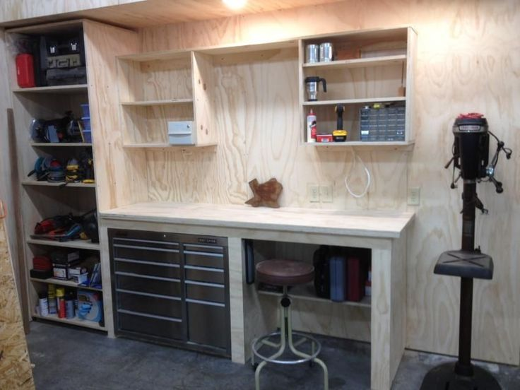 garage corner workbench - Google Search                                                                                                                                                                                 More