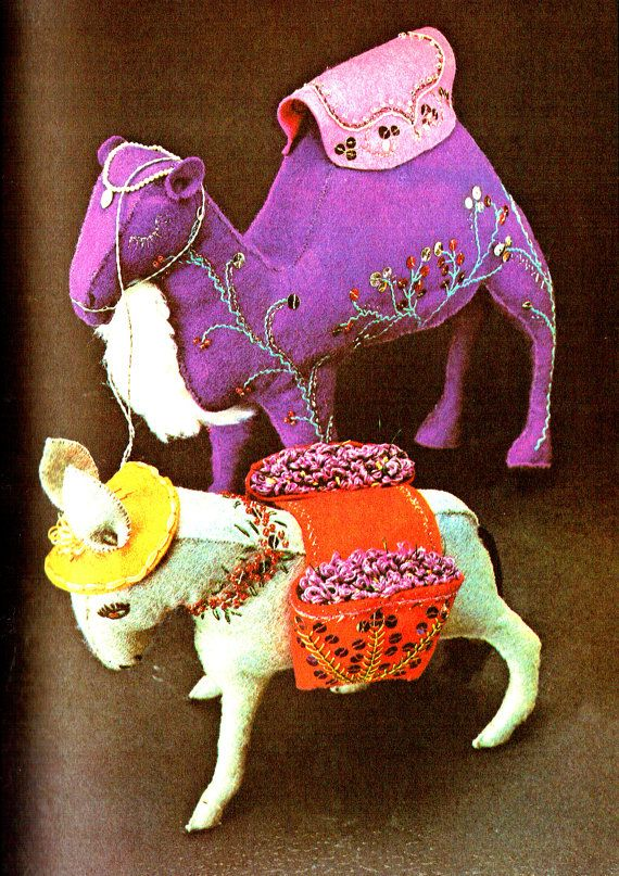 PDF Vintage 1970s  Indian 'Camel & Donkey' Toy Sewing Pattern, Groovy, Kitsch, Psychedelic, Teddy, Rag Doll, Recycling, Upcycling,