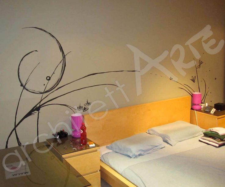 decorazioni floreali astratte - camera da letto