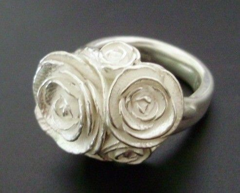 "I want more ""costume"" jewelry like this... A Bouquet of Peonies - Handsculpted, Cast Sterling Silver Ring"