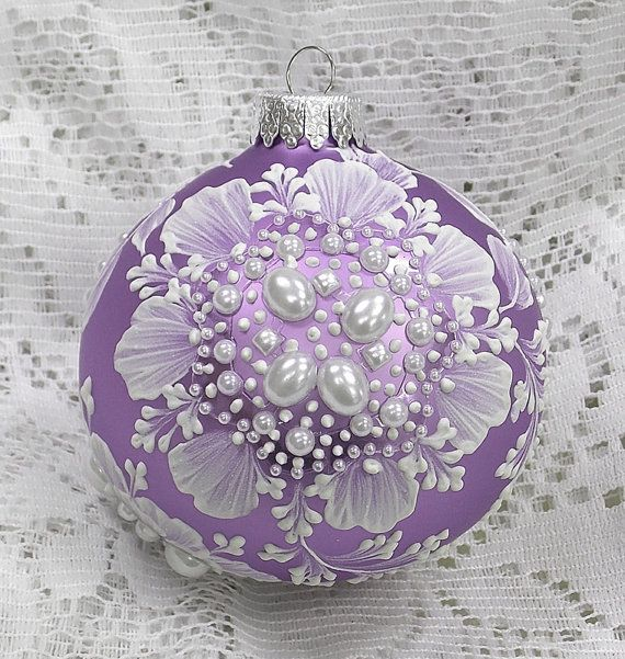 Soft Purple with White Hand Painted 3D MUD Florals and Pearl Trim 254