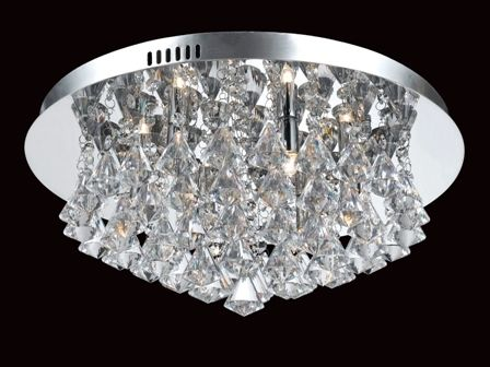 6 Light Flush Pyramid Halogen Crystal Ceiling fitting complete with a chrome ceiling plate and lamps