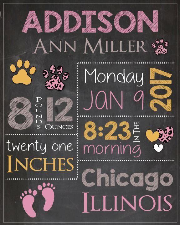 Pink Cheetah Nursery Art Print. Pink Cheetah Birth Announcement Sign. PRINTABLE new baby gift. Pink Cheetah birth stats poster custom