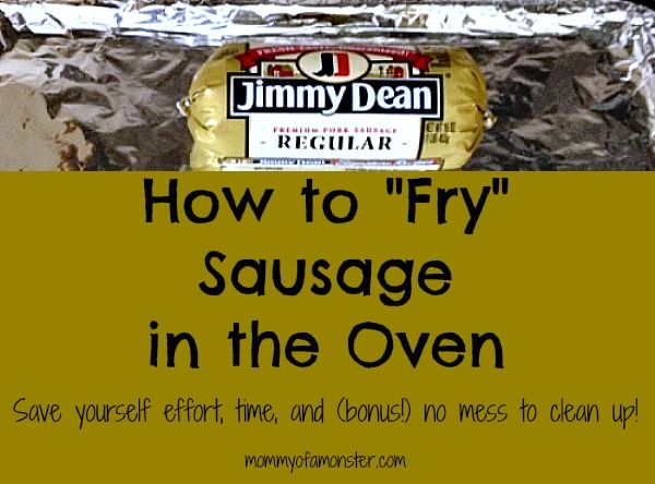 """How to cook sausage without any messes or splatters. When you oven """"fry"""" sausage you're done in 20 min. & throw away the mess. Link to """"fry"""" bacon too."""