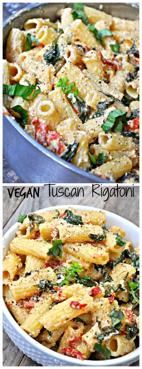 This vegan Tuscan Rigatoni is perfection! Garlicky spinach and sun dried tomatoes cooked in white wine and mixed with cashew cream, tossed with rigatoni!