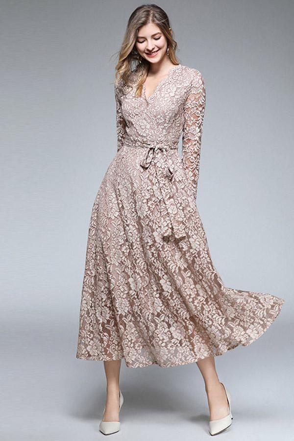 Luxury Lace Long Dress Vintage V Neck Casual Dresses Lace Dress Long Cheap Dresses Casual Women Lace Dress
