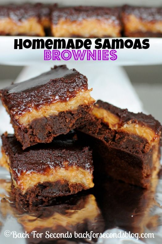Easy Homemade Samoas Brownies - Every time I make these, I love them more! http://backforsecondsblog.com #samoas #brownierecipe #dessert