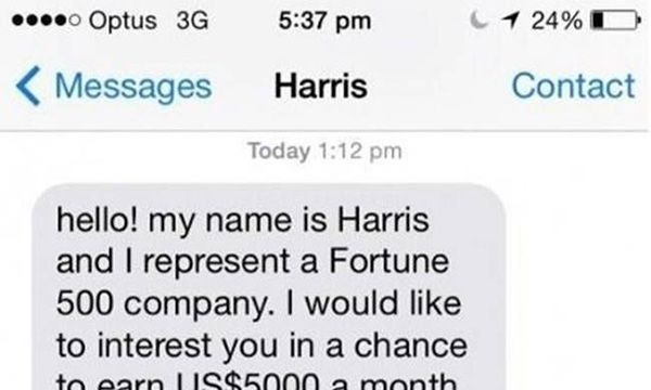The BEST text reply EVER. http://www.kickvick.com/sms-scam-revenge/