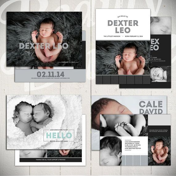 Super cute Birth Announcement Templates: Midnight Song Collection | by Beauty Divine on Etsy