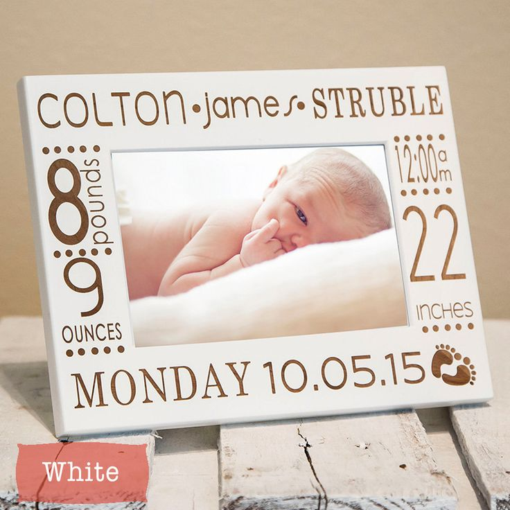 Baby Picture Frame-Personalized Birth Announcement Picture Frame w/ stats-Baby Stat-Baby Name-New Baby-Wood Engraved-Color Choice (24.50 USD) by PWEGifts