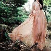 2017 весной и летом старинные королевский розовый фонарь с длинными рукавами dress женщин расширение нижней макси полный dress
