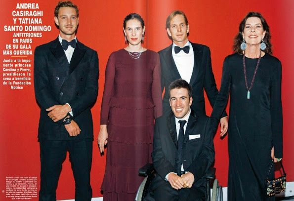 Princess Caroline of Hanover, Andrea Casiraghi, Pierre Casiraghi, Tatiana Santo Domingo attended the annual charity dinner of the Foundation Motrice in Paris on October 15, 2015.. Andrea Casiraghi, 28, member of the family of the Sovereign Prince of Monaco, has been the first patron of La Fondation Motrice since 2006. After he became friend with a fellow student with CP at university,