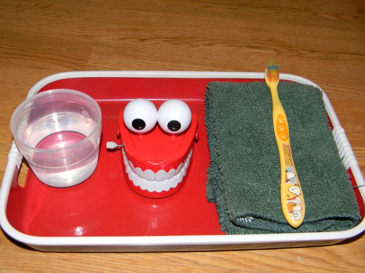 Montessori-Inspired Tray for Tooth Brushing (Photo from Jada Roo Can Do)