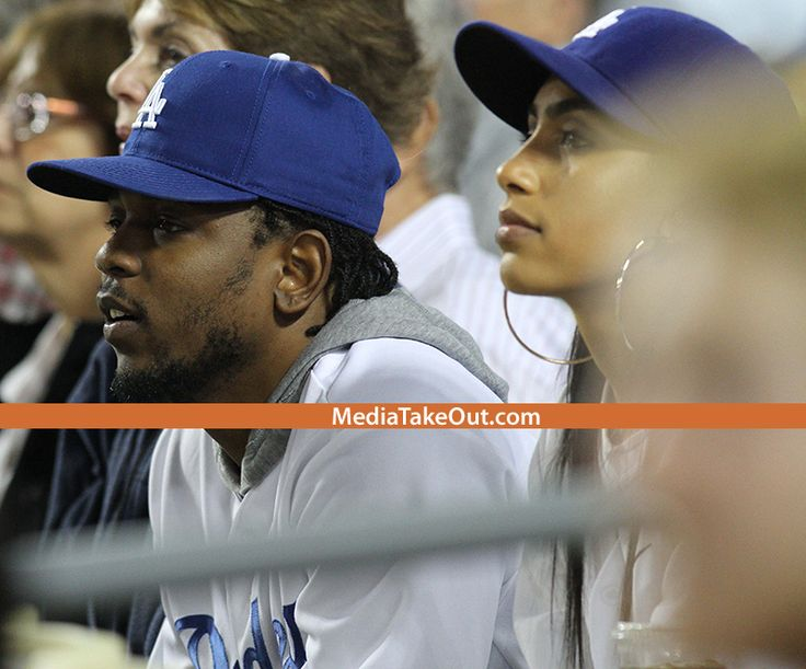 PICS: Rapper KENDRICK LAMAR Is Photo'd At Last Night's DODGERS GAME With His New Fiance . . . And We Can't Lie . . . The Chick Is GORGEOUS!!