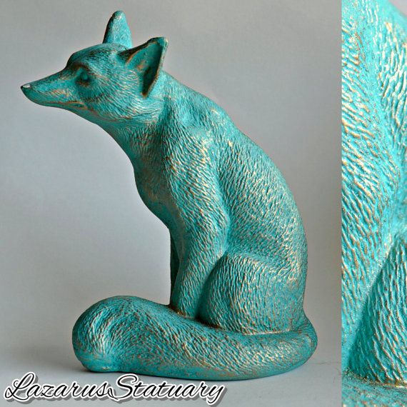 Turquoise and Gold Fox Statue - Eclectic  Sculpture Hand Painted Kitsch Home decor