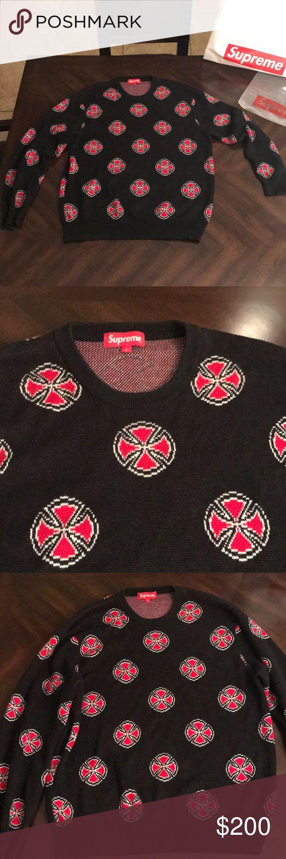 Men's size Large Supreme sweater Men's size Large Supreme independent crosses sweater Supreme Sweaters Crewneck