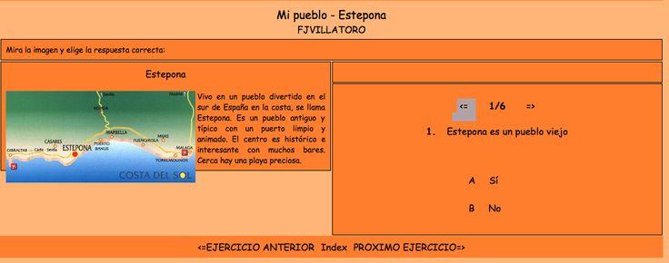 """Lectura corta - """"Mi pueblo - Estepona"""" adjetivos, preguntas de comprensión"""