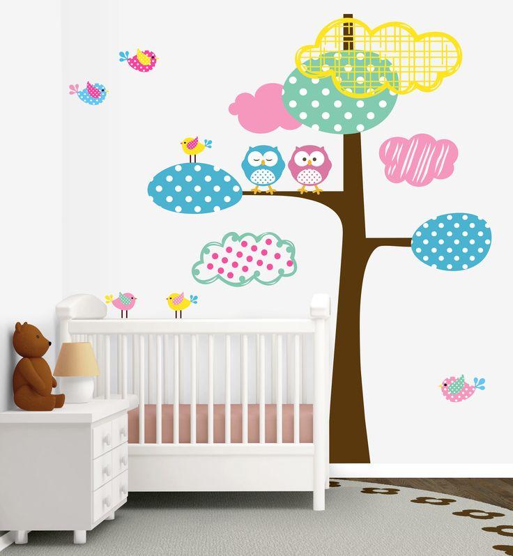Desenli Bulut Ve Kuşlar Renkli Ağaç Bebek Odası Duvar Sticker   Fiyat: 144 TL