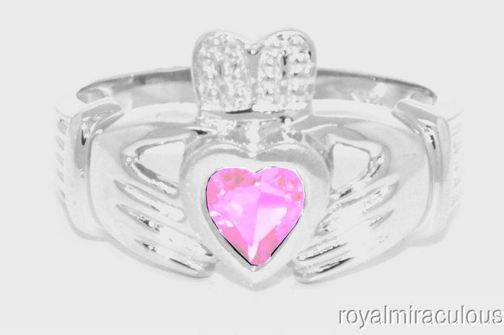 CLADDAGH RING 14K WHITE GOLD SIMULATED PINK ICE LOVE & LUCK - OCTOBER STONE #Unbranded #Claddagh