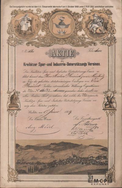 Muzeum cennych papiru A2000 Kreibitzer Spar- und Industrie-Unterstützungs Vereines 1869
