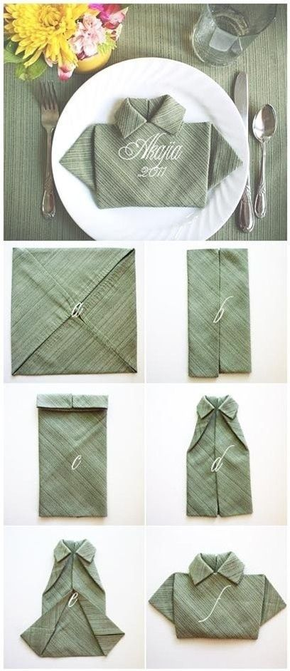 Servilleta para decorar el día del padre. Este sencillo paso a paso te ayudará a realizar esta curiosa idea para incluir en la decoración de la mesa, es una servilleta de tela doblada en forma de camisa. http://wp.me/p1ytFq-zR