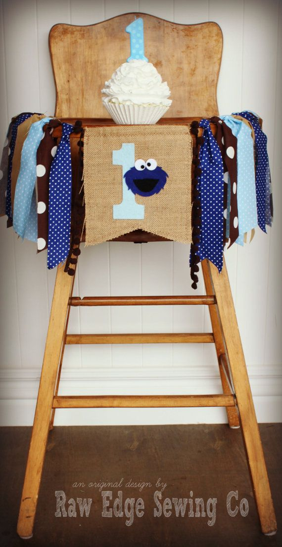 COOKIE MONSTER Birthday High Chair Highchair by RawEdgeSewingCo