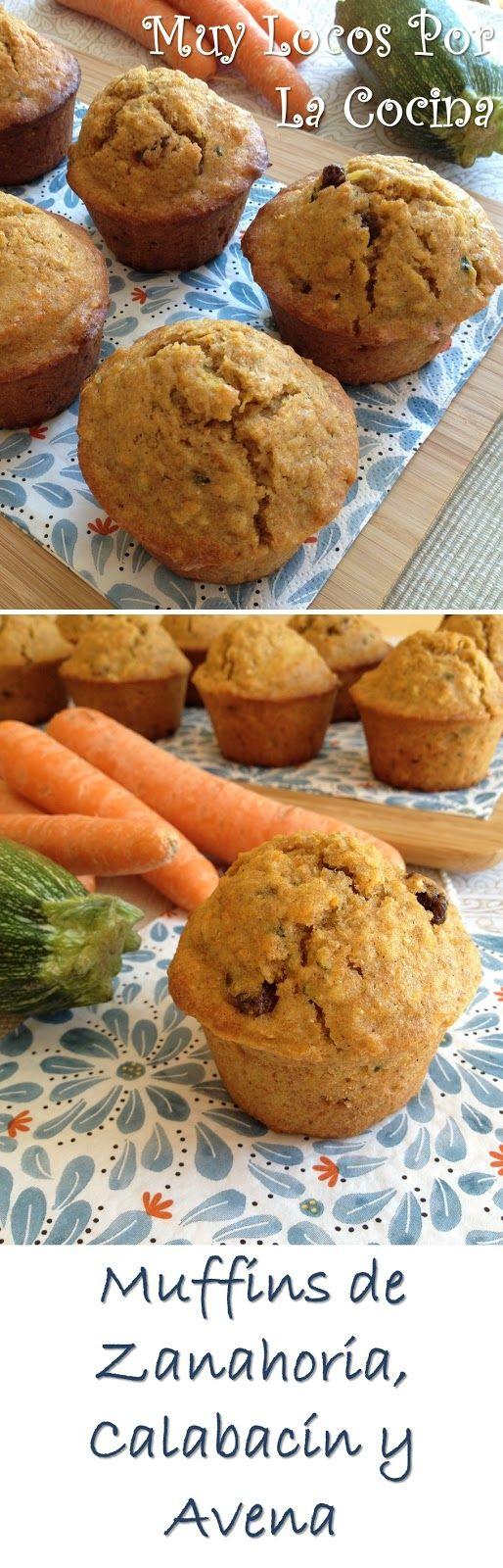 Muffins de Zanahoria, Calabacín y Avena. Puedes encontrar la receta en www.muylocosporlacocina.com.