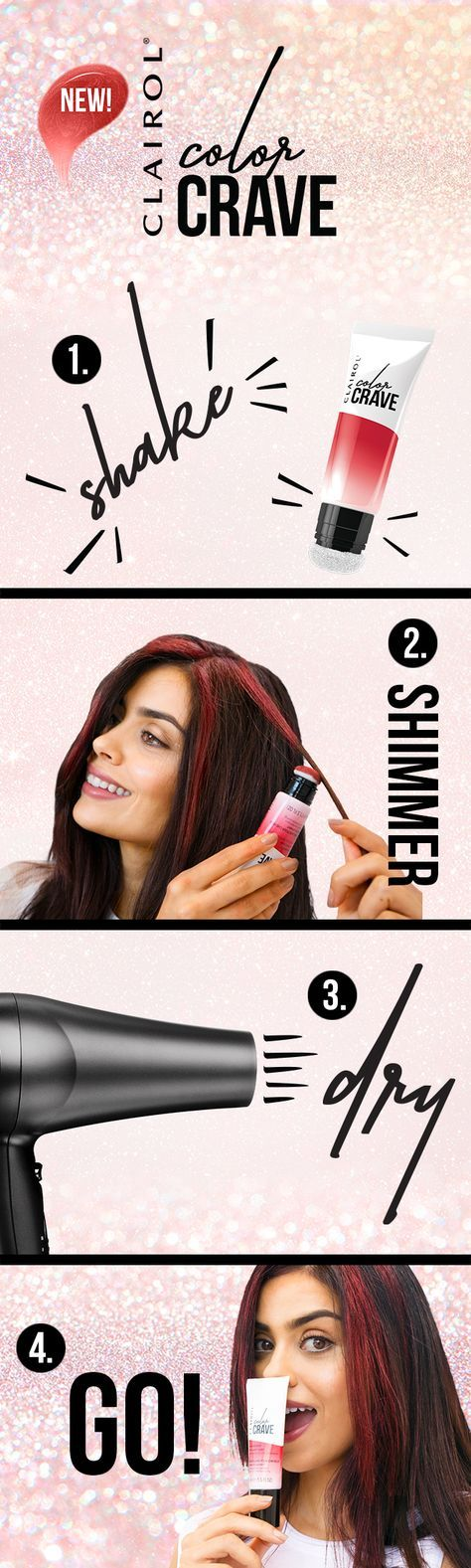 Flaunt your style with Clairol's new Color Crave hair makeup. The 1 day color that washes out with shampoo.