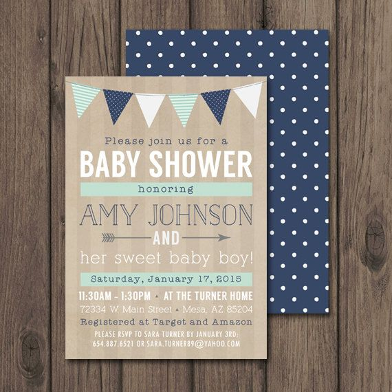 Rustic Baby Shower Invitation, Baby Boy Shower Invitation, Navy and Mint Baby Shower, Printable Invitation with Matching Backer $17