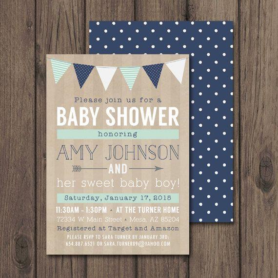 RUSTIC BABY SHOWER Invitation Baby Boy Shower by kimberlyjdesign