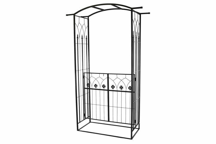 Rozenboog Pergola Poort 212 cm      Plaats de boog bij de oprit, de ingang van de tuin, de toegang tot de patio, prieel of als een bijzondere blikvanger en een ruimtelijke scheiding in je tuin.      Boog met deur in een prachtig klaverblad ontwerp  Veel m - € 119,00