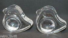 Iittala Finland Clear Glass Tiu Bird 2 Egg Cups Holder Stand Set Jorna Vennola
