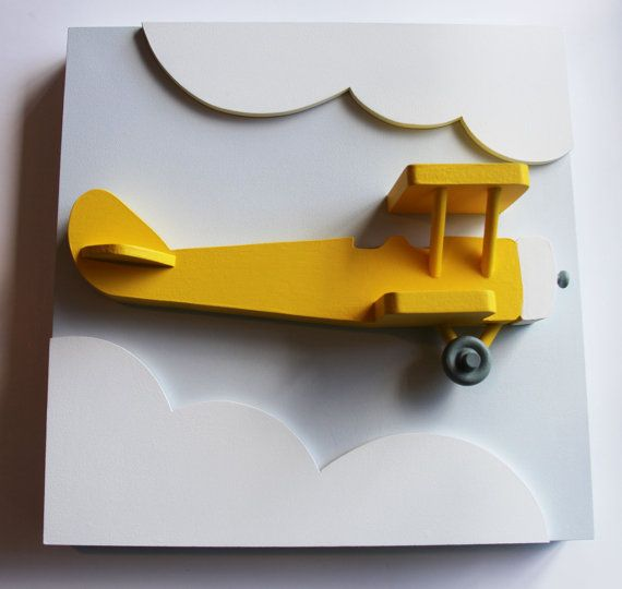 3D Airplane Nursery Wall Decor,  Yellow Wood Biplane Wall Art for Kids Aviation and Transportation Theme Rooms on Etsy, $70.00