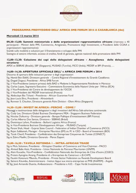 Programma 1/2 1° Africa SMB Forum di Casablanca