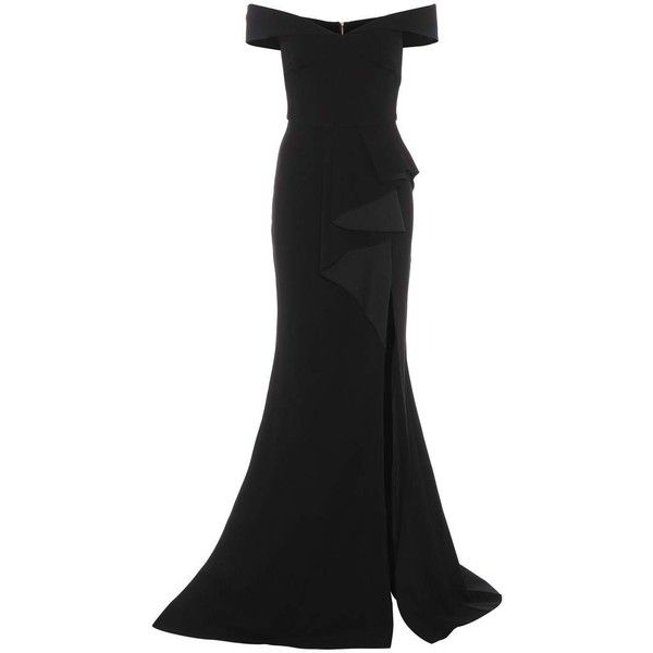 Rebecca Vallance St Barts Crêpe Gown ($1,010) ❤ liked on Polyvore featuring dresses, gowns, black, draped gown, drapey dress, crepe fabric dress, crepe gown and maxi gown