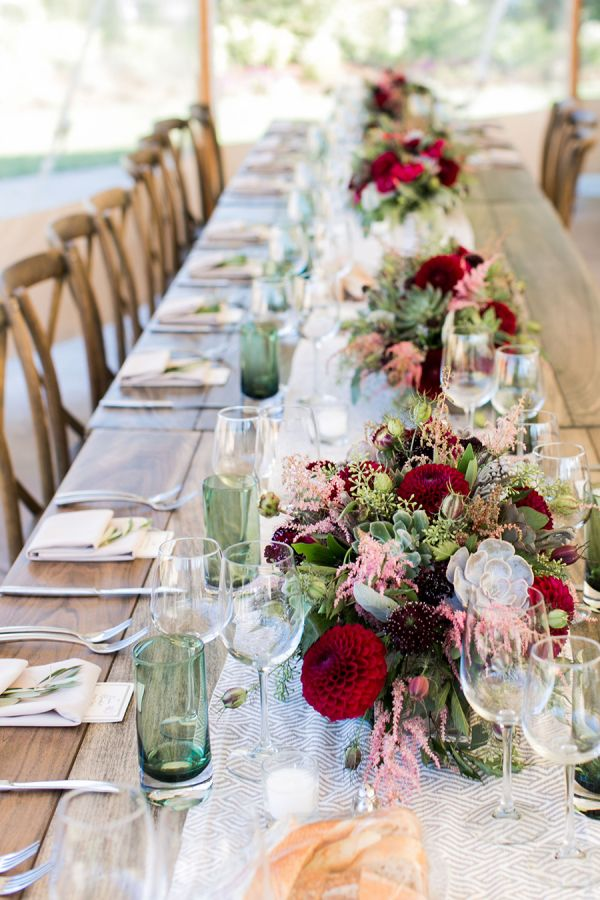 a berryhued wine country wedding for the books - Table Decor
