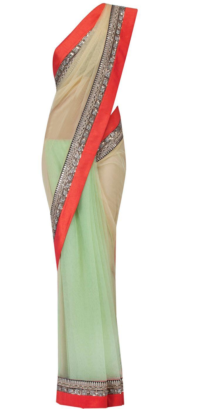 Apple green georgette and net sari by SABYASACHI. Shop at https://www.perniaspopupshop.com/designers-1/sabyasachi/sabyasachi-17