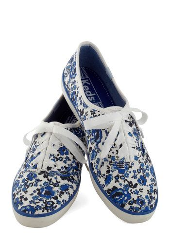 Jump for Joy Sneaker in Floral by Keds - Low, Blue, White, Floral, Casual, Good, Lace Up, Variation