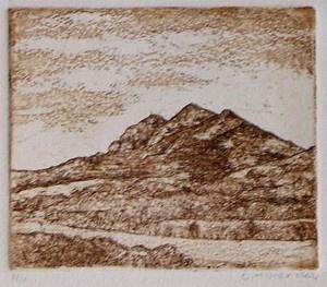 """Simonsberg Mountain"" etching"
