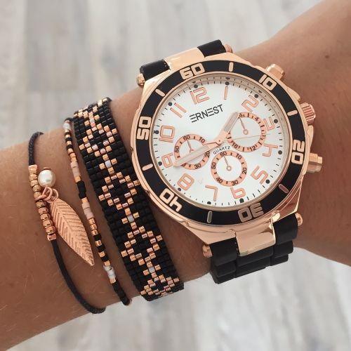 Bracelets & watch in black & rosegold | Mint | www.mint15.nl