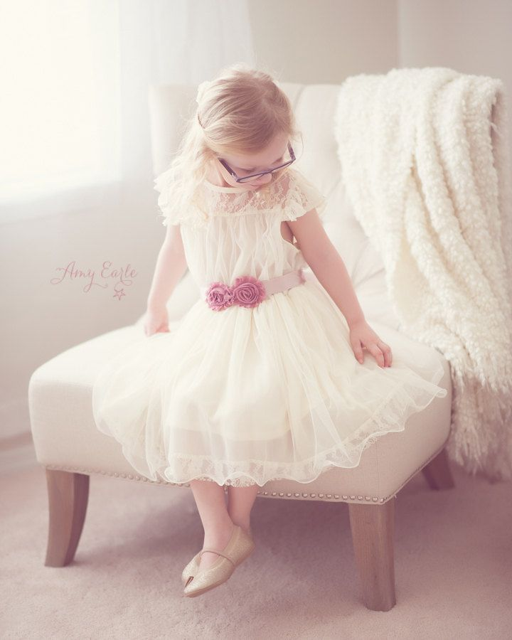 The Olivia Ivory Flower Girl Lace Dress, made for girls, toddlers, infants, ages 2T-14. $71.95, via Etsy.