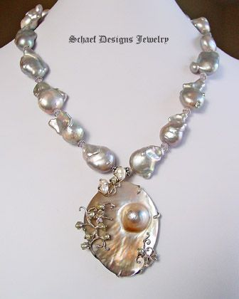 Nucleated freshwater pearl, scorolite, & sterling silver necklace with mabe pearl pendant | online upscale designer jewelry boutique | Schaef  | New Mexico