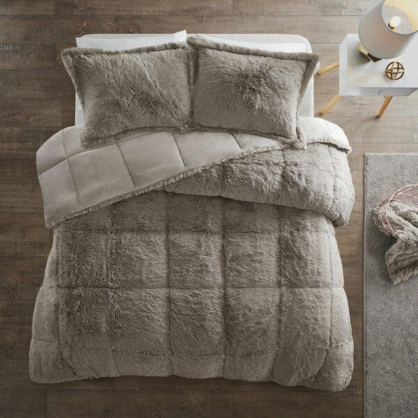 Trahan Shaggy Comforter Set Grey Comforter Sets Comforter Sets Fur Comforter